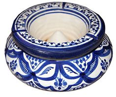 Moroccan Handmade Two-piece Ceramic Ashtray #handmade These conversation-inspiring, unique and useful two-piece ceramic ashtrays – beautifully handcrafted in Morocco – are cleverly designed with a top that comes off so the ashes go down without a mess. Please note that as our items are handcrafted and handmade, each is unique and may slightly differ. Measurement: 8.5in W x 5.5in H Measurement: 8.5in W x 5.5in H Authentic, handmade ceramic ashtray imported from Morocco Measurement: 8...