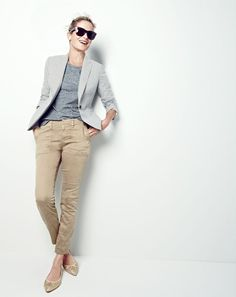 J.Crew women's Campbell blazer in skinny stripe, short-sleeve painter T-shirt, skinny stretch cargo pant, Betty sunglasses and Gemma glitter flats.