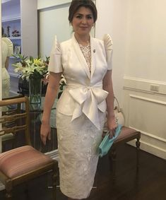 Lucy Torres-Gomez and daughter Juliana, Heart Evangelista, Jinkee Pacquiao, Tootsy Angara, define what dressed-down chic is at SONA Modern Filipiniana Gown, Filipiniana Wedding, Philippines Outfit, African Fashion Dresses, Fashion Outfits, Beautiful Dresses, Nice Dresses, Event Dresses, Traditional Dresses