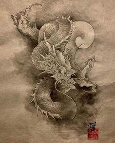 Drawing Stencils, Painting & Drawing, Japanese Drawings, Japanese Art, Amsterdam Tattoo, Full Sleeve Tattoo Design, Chinese Dragon Tattoos, Dragon Sketch, Shark Tattoos