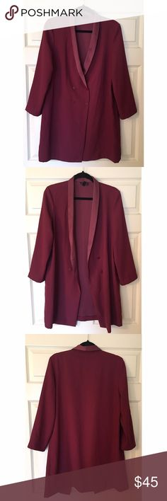 Duster Jacket Burgundy/wine double breasted duster jacket from Topshop. Can also be worn as a dress. Topshop Jackets & Coats