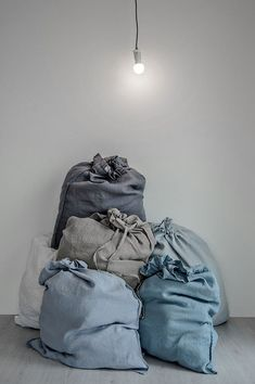 Made of washed linen fabric, specially woven for us by our local linen manufacturers. Linen Fabric, Linen Bedding, Bedding Sets, Bed Linens, Developement Durable, Bed Linen Design, Textiles, Dusty Blue, Home Textile