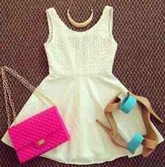Cute outfit just match the shoes with the purse or the pursue with the shoes dont want to look like u love to taste the rainbow with this exact style