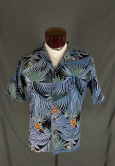 3be8f3a2 Hilo Hattie Men's Blue 100% Cotton Tropical Jungle Print Hawaiian Aloha  Shirt - Large