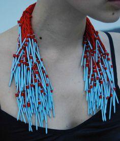 Hiroko Nakajima -JAPAN silence - screams - - Adellab_se 2012 Jewellery made of thread, nail, spray paint. 13 x 27 x 4.5 cm. 2010
