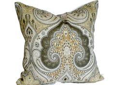 Kravet Grey & Tan Latika Ikat Decorative by MissEvaDivaDesigns, $35.00