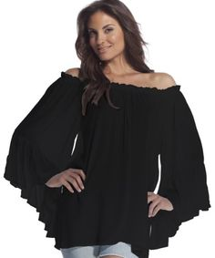 Elan Women's Flutter Sleeve Top, Black, One Size Elan http://smile.amazon.com/dp/B00B61KR1O/ref=cm_sw_r_pi_dp_HdINtb1T586QM7WH