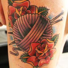 Knitting Needles + Yarn = One Kick-butt Tattoo.