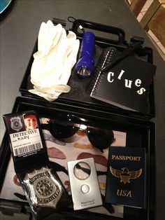 DIY spy kit includes badge, passport, dark glasses, gloves, magnifying glass, clue pad, flashlight and of course, mustaches !! Super fun kid gift