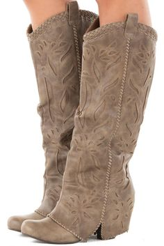 Purchasing these on my lunch break...... I think they are so cute Lime Lush Boutique - Taupe Overlay Tall Boot with Cut Out and Stitched Details…