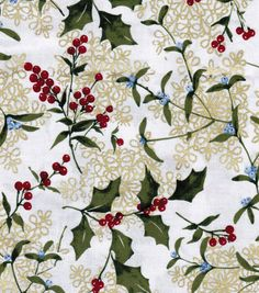 Holiday Inspirations Fabric-Vintage Holly Metallic