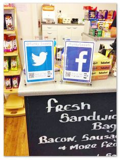 Funky Sweets with their latest #socialmedia signage turning their footfall into followers #logotag