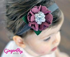 Felt Flower Headband - Fall Plumb Ruffle Flower Headband for Babies, Toddlers, or Adults - 100% Handmade with Wool Felt. $12.00, via Etsy.