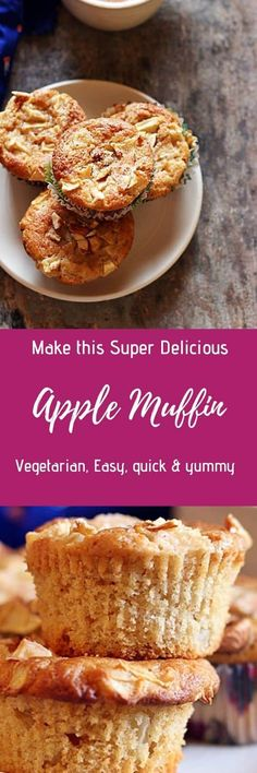 Apple muffins recipe- easy and quick to make one bowl apple muffins made without eggs, butter & refined flour. Healthy muffins with wholewheat flour.