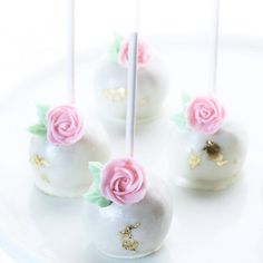 Rose Valentine's Day cake pops (as pictured from previous video short) (dusted with CK dusts pearl luster)