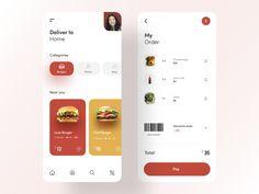 Food delivery by Martyna Zielińska | Dribbble | Dribbble Ui Design Mobile, App Ui Design, Ramp Design, Flat Design, Design Design, Design Thinking, Delivery App, Delivery Food, Website Design Layout