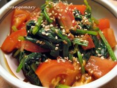 A Kick of Spice! Spinach and Tomato Namul ☆ -obento