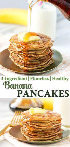 These flourless, grain free 3-Ingredient Healthy Banana Pancakes are an easy breakfast recipe for kids and adults -- and they're gluten free, too! #pancakes #glutenfree #breakfast #banana #TheSeasonedMom