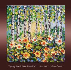 Birch Tree Landscape  Flower Field Forest  Small Oil by NuFineArt5, $63.00