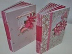 Cadernos em cartonagem e scrapbook, buttonholle com costura longstitch
