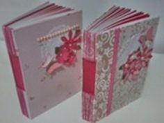 Cadernos em cartonagem e scrapbook, buttonholle com costura longstitch