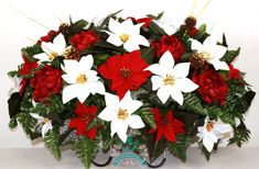 Beautiful XL Christmas Red and White Poinsettia w Peonies Cemetery Tombstone Hea