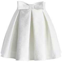 Chicwish Sweet Your Heart Jacquard Skirt in White ($42) ❤ liked on Polyvore featuring skirts, bottoms, white, saias, pleated skirt, embellished skirts, pull on skirts, bow skirt and white pleated skirt