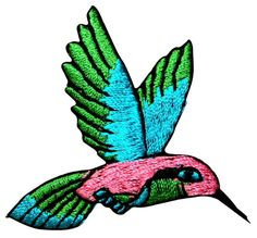 """Amazon.com: [Single Count] Custom and Unique (2"""" wide and 2"""" Inches) Summer Gardens Small Flying Nectar Bird Hummingbird Iron On Embroidered Applique Patch {Pink, Blue, and Green Colors}"""
