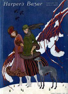 Harper's Bazar, February Cover by George Barbier. Art Deco Illustration, Magazine Illustration, Vintage Posters, Vintage Art, Art Posters, Vintage Vogue Covers, Art Nouveau, Greyhound Art, Guache