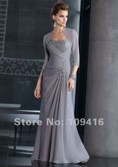 Free shipping 2012 one-shoulder gray chiffon appliques mother of the groom dresses US $166.99