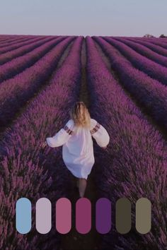 Beautiful woman in white dress in lavender field Color Schemes Colour Palettes, Nature Color Palette, Colour Pallette, Color Combos, Lavender Color Scheme, Beige Aesthetic, Lavender Fields, Pantone Color, Color Theory