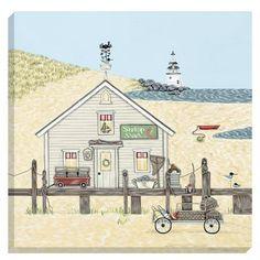 Sally Swannell Shrimp Shack 40x40cm Canvas Print