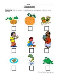 Sequence Worksheet Order the sets of 3 pictures from start to finish. Information: Sequence worksheets, plot worksheets, order of events worksheets, chronological worksheet, organizing events worksheet Sequencing Worksheets, Reading Worksheets, Reading Resources, Kindergarten Worksheets, Sequencing Events, Have Fun Teaching, Teaching Reading, Teaching Ideas, Event Organization