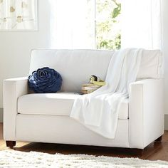 PB Teen Chair + Sleeper, White Twill at Pottery Barn Teen - Dorm... ($1,299) ❤ liked on Polyvore featuring home, furniture, chairs, accent chairs, white, white accent chair, pbteen, video chair, retro-classic white accent chairs and pbteen furniture