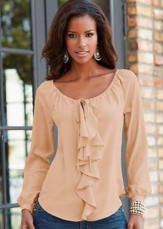 Blouse - must get Look Legging, Modelos Fashion, Blouse Vintage, Fashion Prints, Dress Patterns, Shirt Blouses, Blouses For Women, Blouse Designs, Designer Dresses