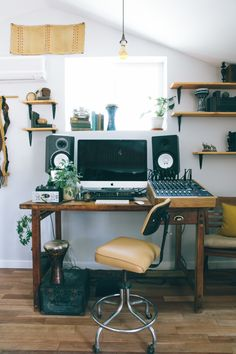 home Studio Room - A Garage Turned Eclectic AtHome Music Studio. - home Studio Room – A Garage Turned Eclectic AtHome Music Studio… - Home Studio Setup, Music Studio Room, Recording Studio Home, Studio Ideas, Film Studio, Music Production Studio, Audio Studio, Small Space Living, Small Rooms