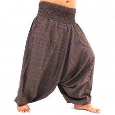 Aladdin Afghani afgano pantalones de algodón - de color marrón oscuro