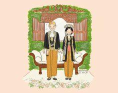 Javanese Wedding Illustration - Solo Putri Wedding Dress Illustrations, Wedding Illustration, Couple Illustration, Watercolor Illustration, Thanks Card Wedding, Wedding Thank You Postcards, Wedding Cards, Javanese Wedding, Romantic Anime Couples