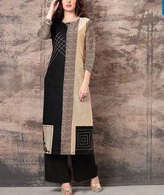 Beautiful cotton black and beige color kurti with prints and patches detailing