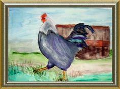 Love to paint chickens, cannot explain why?  Chicken with Barrel. Jan 2013