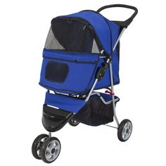 New Deluxe Folding 3 Wheel Pet Stroller Dog Cat Carrier With Cup Holder Tray (Blue) - http://catstroller.bgmao.com/new-deluxe-folding-3-wheel-pet-stroller-dog-cat-carrier-with-cup-holder-tray-blue/