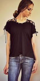 Trash To Couture: My Laced Up Collar Sleeves. DIY  ~There must be an easier way to make this.