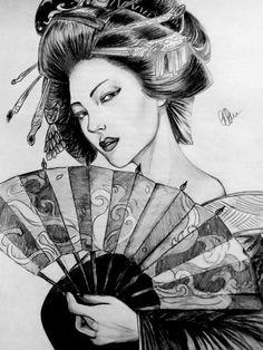 Geisha by on Tatoo Geisha, Geisha Tattoo Design, Geisha Art, Geisha Drawing, Japanese Drawings, Japanese Tattoo Art, Japanese Tattoo Designs, Japanese Prints, Japanese Geisha