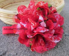 Red Headband, Baby Hairband, Floral Headband, Photo Shoot Prop by OurKraftyCreations on Etsy
