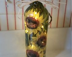 Lighted Wine Bottle Hand Painted Dragonfly Gifts by RecycleThyme