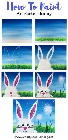 How To Paint An Easter Bunny - Step By Step Painting canvas painting for kids How To Paint An Easter Bunny - Step By Step Painting Canvas Painting Tutorials, Easy Canvas Painting, Spring Painting, Diy Canvas Art, Spring Art, Painting For Kids, Diy Painting, Art For Kids, Paint Night For Kids