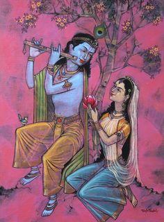 Radha Krishna 1 par l'artiste Raju Terdals | Peintures acryliques