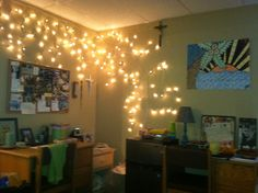 Our dorm room. Put up the lights! Aquinas College- Nashville, TN. Seton lodge be looking fresh.