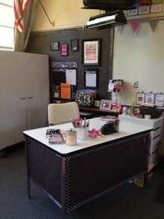 Ideas for sprucing up my desk area: contact paper on top, butcher paper and cute trim on the sides from Classroom Couture