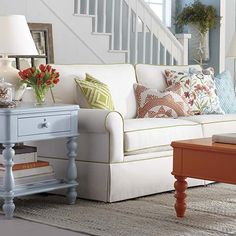 Mom Likes this Sofa without green edging HGTV Home Custom Upholstery Small Sofa by Bassett Furniture